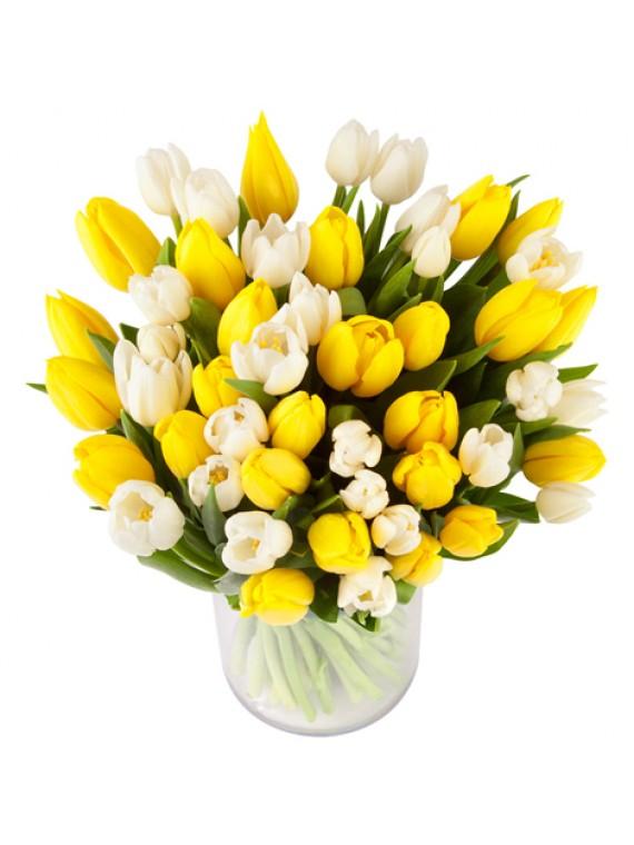 Jarron de tulipanes blancos y amarillos