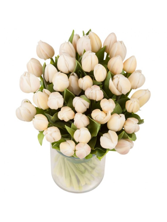Jarron de tulipanes blancos