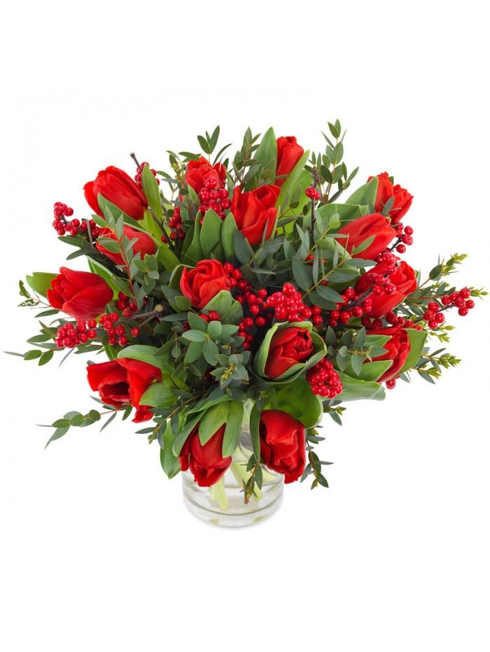 Jarron de tulipanes rojos con eucalipto