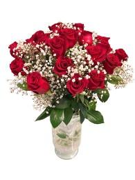 Ramo de 24 rosas con paniculata en jarron