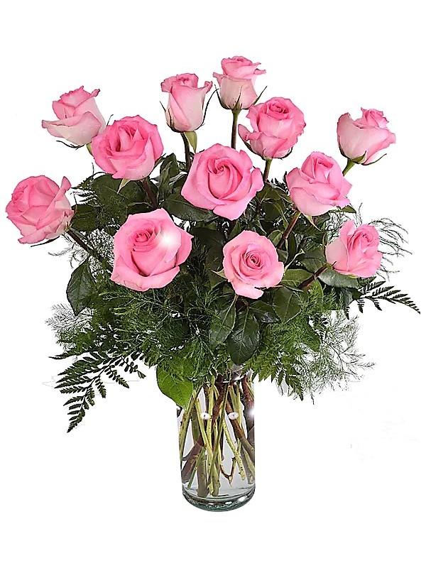 1dd5eec4bea1b Jarron de 12 rosas rosa tallo largo