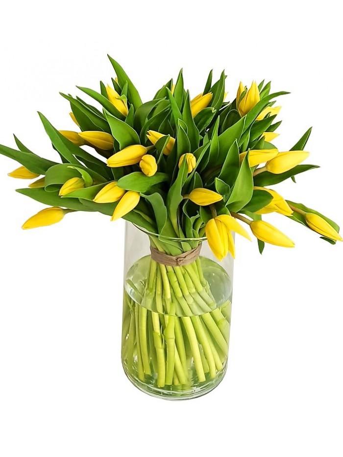 Jarron de tulipanes amarillos