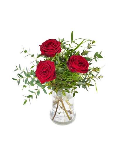 Jarron de tres rosas rojas