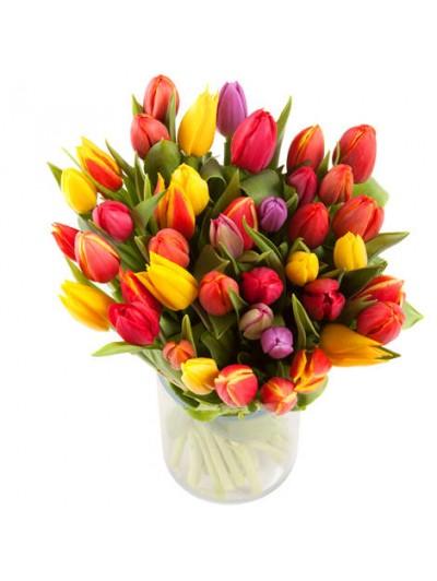 Bouquet de 40 tulipanes variados cuatro colores